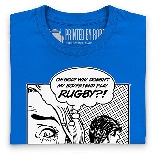 Boyfriend Rugby T-Shirt, Damen Royalblau