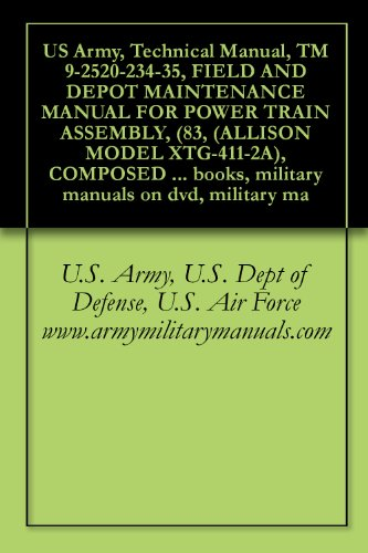 US Army, Technical Manual, TM 9-2520-234-35, FIELD AND DEPOT MAINTENANCE MANUAL FOR POWER TRAIN ASSEMBLY, (83, (ALLISON MODEL XTG-411-2A), COMPOSED OF: ... on dvd, military ma (English Edition)