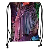 Custom Printed Drawstring Backpacks Bags,Natural Cave Decorations,Silver Stalactites Typical Chinese Karst Asian Wonders Deep in the Planet Picture,Multi Soft Satin,5 Liter Capacity,Adjustable St