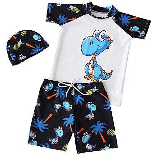 Baby Jungen Badeanzüge Kleinkind Einteiler Bademode Uv-Schutz Schwimmbekleidung Kurzarm Schwimmanzug 1-2 Jahre Alt M Dinosaurier-Ananas Weiß (Bai Ananas)