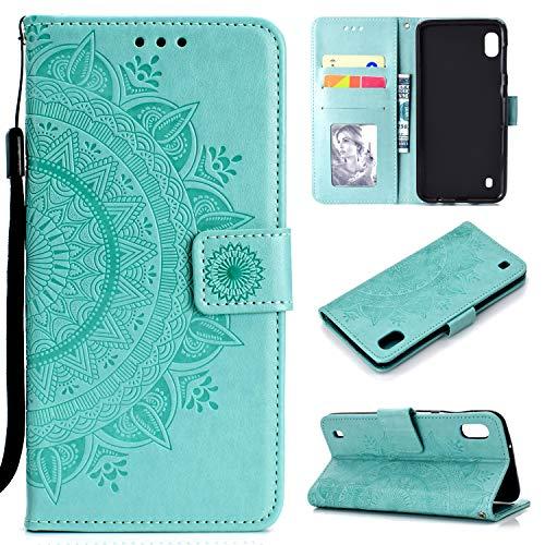 Funda para Samsung Galaxy A10, Carcasa Libro con Tapa Flip Case Antigolpes Golpes Protectora Cartera PU Cuero Suave para Samsung Galaxy A10 - Mandala Verde Menta