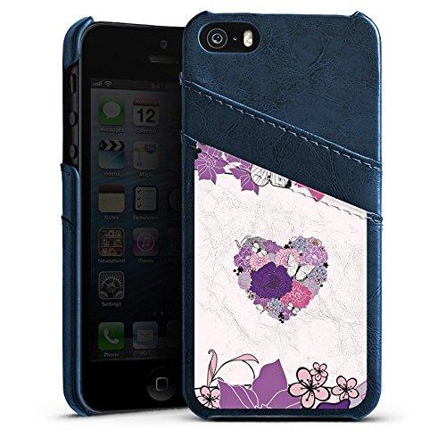 Apple iPhone 4 Housse Étui Silicone Coque Protection C½ur Papillon Fleurs love Étui en cuir bleu marine