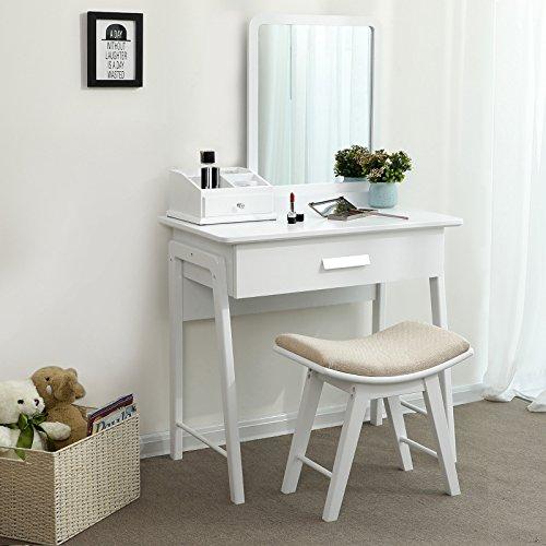 Songmics tavolino da toletta moderno com con specchio quadrato e sgabello concavo con cuscino - Toletta con specchio ...