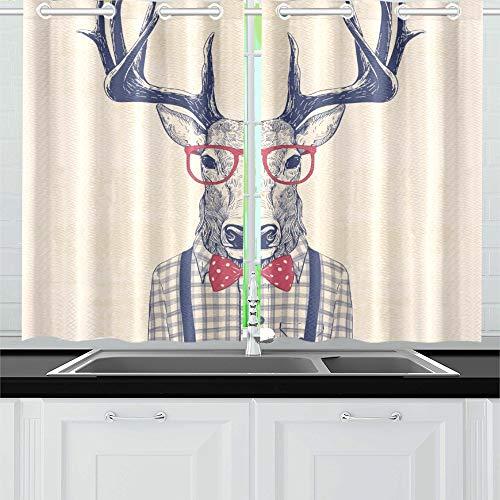 JOCHUAN Hirsch wie Nerd Shirt gekleidet Küche Vorhänge Fenster Vorhang Stufen für Café Bad Wäscherei Wohnzimmer Schlafzimmer 26 * 39 Zoll 2 Stück - Gekleidet Wie Man