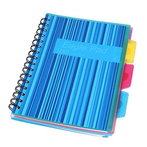 Eagle - taccuino con rilegatura a spirale, formato a5, a righe, con 3 divisori, 125 fogli blue
