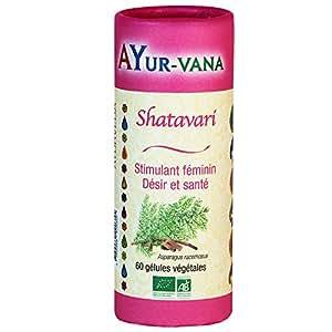 Shatavari bio Ayur-vana - Aphrodisiaque - stimulant du désir féminin - troubles menstruels - ménopause - 60 gélules végétales certifiées bio par Ecocert - Ayur-vana - plantes ayurvédiques et ayurvéda