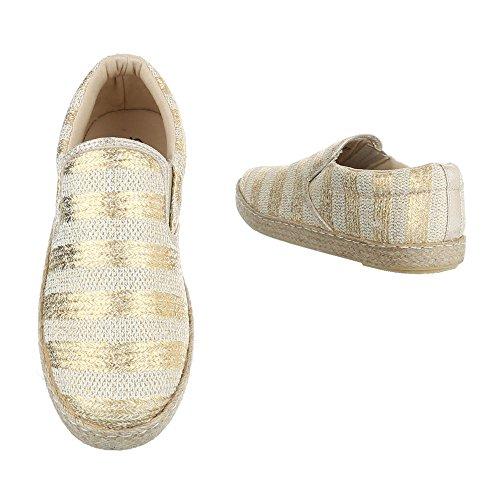 Ital-Design , chaussons dintérieur femme Or