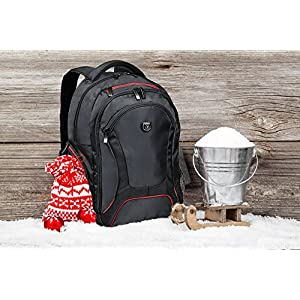 51RUSEPiZIL. SS300  - PORT DESIGNS COURCHEVEL Mochila para Laptop de 17.3 '' y Tableta de 10.1 '', Negro-Rojo