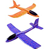 TOYMYTOY Flying Glider Foam Planes | 2pcs Throwing Whirly Glider Planes For Kids, Party Favors (Random Color)