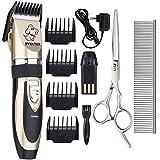 EVELTEK Keramik Elektrischer Tierhaarschneider Hunde Katzen Schermaschine Tierhaarschneidemaschine mit 4 Kammaufsätzen 3-6-9-12 mm für Hunde und Katzen Grooming,Trimmer Haarschneider (EL-P2)