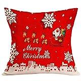 FeiliandaJJ Pillowcase Christmas, Kissenbezug kissenhülle Kopfkissenbezug Weihnachten Dekoration Santa Weihnachtsbaum Drucken Super weich Sofakissen für Wohnzimmer Sofa Bed Home,45x45cm (I)