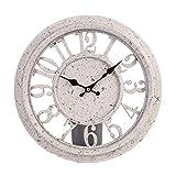 TentHome Lautlos Wanduhr Retro Hollow Runde Quartzuhr Klassischen Landhausstil Wanddeko Wall Uhr zum Aufhängen Clock ohne Tickgeräusche (Weiß)