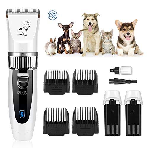 GHB Tierhaarschneider Hunde Schermaschine Hundeschermaschine Hunde Katzen Haustier Timmer mit 4 Aufsätze und 2 Wiederaufladbaren Akku MEHRWEG