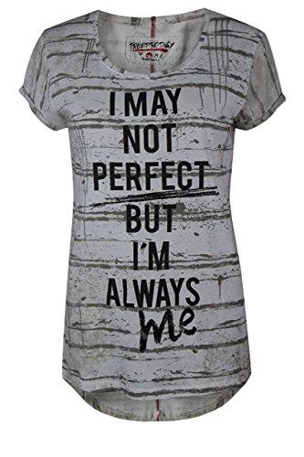 trueprodigy Casual Damen Marken T-Shirt mit Aufdruck, Oberteil cool und stylisch mit Rundhals (kurzarm & Slim Fit), Top für Frauen bedruckt Farbe: Grau 1072533-5203-S
