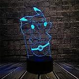 3D Veilleuses LED Lampe De Table Pokemon Go Jeu Action Caractère Lumières Kawa Ipikachu Ball Nouveauté Cadeau Couleur Bureau Jouets Pour Enfants AA Batterie...
