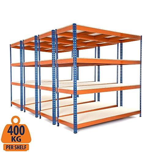 4 Bay, strapazierfähiger Stahlregal für die Garage, stabil, 400 kg Traglast pro Regalboden, 180 x 90 x 60 cm (H x B x T)