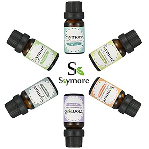Skymore Kit Huile Essentielle Naturel 6Pcs, Essential Oil Pour Aromathérapie Humidificateurs, 100% Pure & Natural Premium, Therapeutic Grade, Parfait Pour Cadeau
