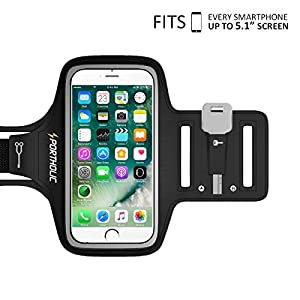 PORTHOLIC Universal Sweat Resistant Sports Armband For iPhone 7,iPhone 6,iPhone 6s, Samsung S5/S6/S7, Huawei Nexus Android With Screen Up to 5.1 inches For Running,Jogging,Hiking,Biking With Key&Cards Holder, Cable Locker (BLACK)
