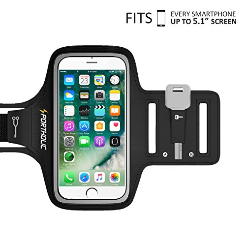 PORTHOLIC Universal Sweat Resistant Sports Armband For iPhone 7,iPhone 6,iPhone 6s, Samsung S7/S6/S5, Huawei Nexus Android With Screen Up to 5.1 inches For Running,Jogging,Hiking,Biking With Key&Cards Holder, Cable Locker (BLACK)