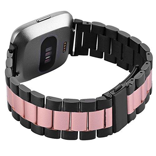 Fitbit Versa Armband Metall Mann,Ersatz Band Edelstahl Schwarz,Smart Watch Uhruhrenarmband,Verstellbares Zubehör Männer Armbänder für fitbit Versa