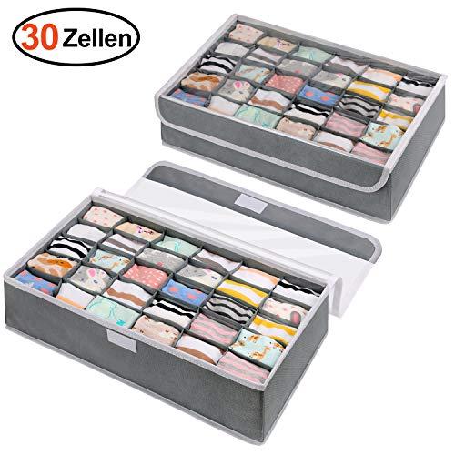 DIMJ 30 Zellen Sock Organizer - 2 Stück Aufbewahrungsboxen Faltbare Ordnungssystem für Unterwäsche, Socken, Krawatten