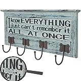 Mendler Wandgarderobe Camden, Garderobe Garderobenpaneel, 3D Schriftzug Shabby-Look Vintage 54x25cm