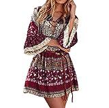 Kleider Damen,Boho Stil Partykleid Mode Trompetenärmel Abendkleid Bandage Abend Party Kleid A-Linie Minikleid Freizeit Lose Strandkleid Resplend