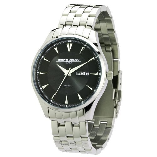 Jorg Gray Men's Quartz Watch with Black Dial Analogue Display and Silver Stainless Steel Bracelet JG1760-14