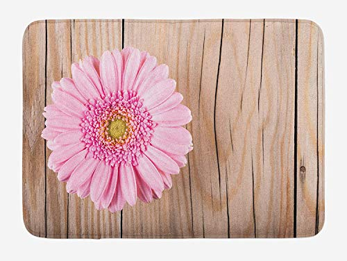 ZKHTO Rustic Bath Mat, One Large Gerbera Daisy on Oak Tree Background Dramatic South American Exotic Photo, Plush Bathroom Decor Mat with Non Slip Backing, 23.6 W X 15.7 W Inches, Pink Brown (Gerbera Daisy Cutter)