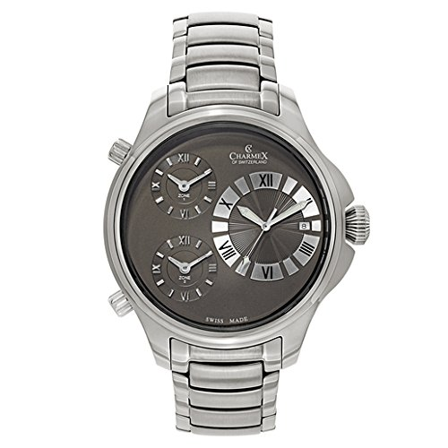 CHARMEX COSMOPOLITAN II 2601 GENTS 48MM SILVER STEEL BRACELET & CASE DATE WATCH