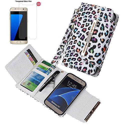 """xhorizon (TM) FM8 [Aktualisiert] 2 in 1 Premium Bunte Leopard Leder Brieftasche Kristallknopfverschluss Magnet Auto Mount Phone Halter Kompatibel Folio Tasche für iPhone 6 Plus/iPhone 6S Plus [5.5"""" Samsung S7 mit 9H Ausgeglichen GlasFilm"""