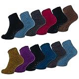 sockenkauf24 6 oder 12 Paar ABS Kuschelsocken mit Anti Rutsch Sohle Damen Kuschel Socken - 37423
