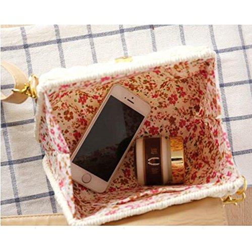 SUNAVY Damen Süß Stroh Schultertasche Tragbar Handtaschen Sommer Strandtaschen mit Quaste,weiß Grau