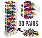 #9: Bigbro Portable Amazing Shoe Rack Stand Holds with 10 Layers 30 Pairs (White)