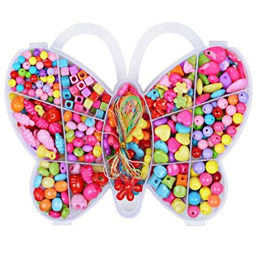 Perle Ensemble, ZZM Papillon Cristal Transparent DIY Perles Crafts Jouets éducatifs pour enfants filles, b