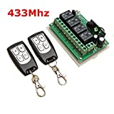 Ils - 12V 4CH Channel 433Mhz Wireless Remote Control Switch with 2 Transmitter