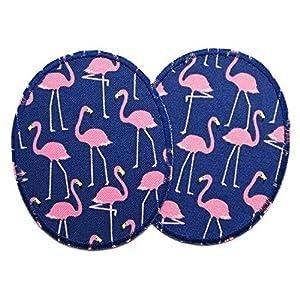 2 Knieflicken rosa Flamingos, Flicken zum Aufbügeln für Kinder, 8×10 cm