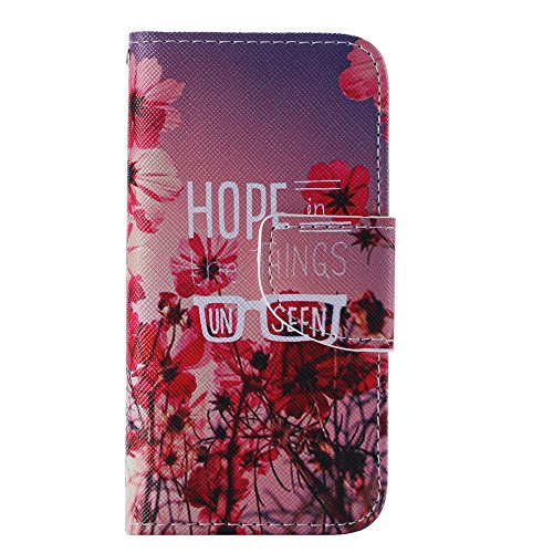 Nancen Apple iphone 6 / 6S (4,7 Zoll) Handy Lederhülle, Flip Case Wallet Cover with Stand Function, Folio Bookstyle Handytasche Soft Silikon Bunte Muster Tasche PU Leder Slim Shell Handyhülle. Rote Blumen