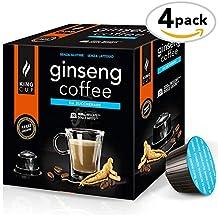 King Cup - Café al Ginseng sin azúcar - 4 paquetes de 10 Cápsulas compatibles con