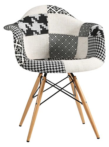 Super Studio – Chaise Wooden Arms Patchwork Blackwhite Pepy Edition Noir et Blanc Inspiration DAW de Charles & Ray Eames