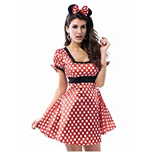 Minnie Mouse Style Fancy Dress with Headband XL Size UK 12-14