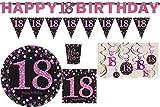 Unbekannt Partyset Sparkling Celebrations Happy Birthday 18. Geburtstag Pink