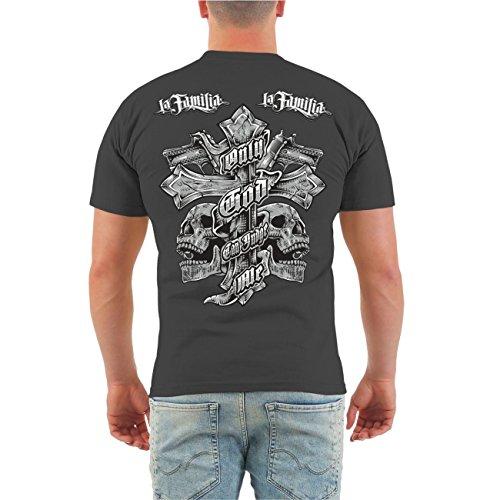 Männer und Herren T-Shirt La Familia Judge Me (mit Rückendruck) Größe S - 8XL Körperbetont grau