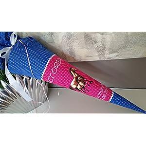 Pferd Pferde blau pink Schultüte Stoff + Papprohling + als Kissen verwendbar
