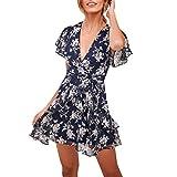 Rawdah- Vestito Bianco Donna,Vestiti da Donna,Formale e Business,con Orlo a Palloncino,Stampa Ruffles Vestito Manica...
