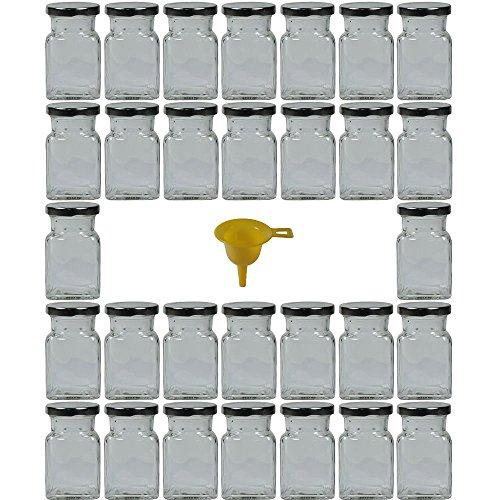 Viva Haushaltswaren - 30 x Gewürzgläser / Marmeladengläser 150 ml mit silberfarbenem Verschluss, eckige Twist off Gläser als Einmachgläser, Glasdosen & Vorratsdosen verwendbar (inkl. Einfülltrichter)