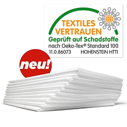 Waschfaserlaken ACTIV (300x waschbar) 10 St.+2 Laken GRATIS (80×210 cm, weiß) Waschvlies / Vlieslaken – OEKO-TEX® geprüft – ORIGINAL Dr. Güstel - 2