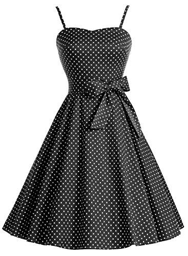 Bbonlinedress modèle 3 Vintage rétro 1950's Audrey Hepburn robe de soirée cocktail année 50 Rockabilly avec bretelles spaghetti Noir à petit pois blanc