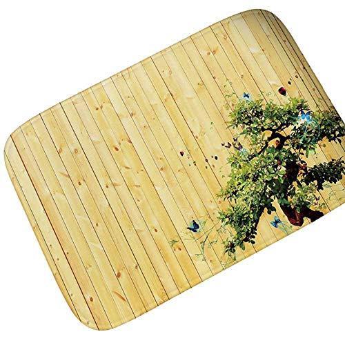 YiHao Holzdruck Teppich bodenmatte Retro Wohnzimmer Studie saugfähig rutschfeste badezimmertür Matte fuß pad zypresse holzbrett 60 * 90 cm -