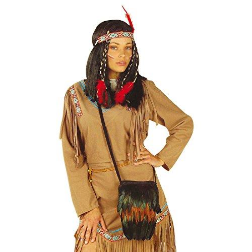 Indianerin Handtasche Pocahontas Umhängetasche Schultertasche Fransentasche Indianerschmuck Beuteltasche Kostüm Accessoire Damen Indianer Tasche mit Federn (Pocahontas Erwachsene Kostüme)